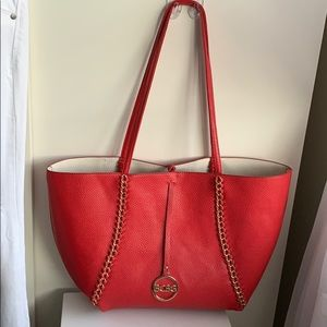 🌸BCBG Vegan Leather Reversible Red/White Tote